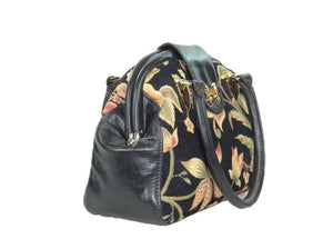 Black Leather and Tapestry Butterfly Doctor Bag side view