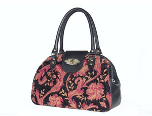 Black Leather and Tapestry Mary Poppins Doctor Bag