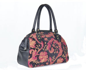 Black Leather and Tapestry Mary Poppins Doctor Bag back side