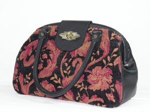 Black Leather and Tapestry Mary Poppins Doctor Bag handles down