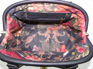 Black Leather and Tapestry Mary Poppins Doctor Bag interior zipper pocket