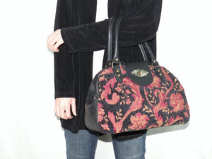 Black Leather and Tapestry Mary Poppins Doctor Bag model