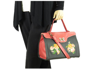Black and Coral Embroidered Irises Leather Pocketbook Purse model view