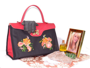 Black and Coral Embroidered Irises Leather Pocketbook Purse vingette