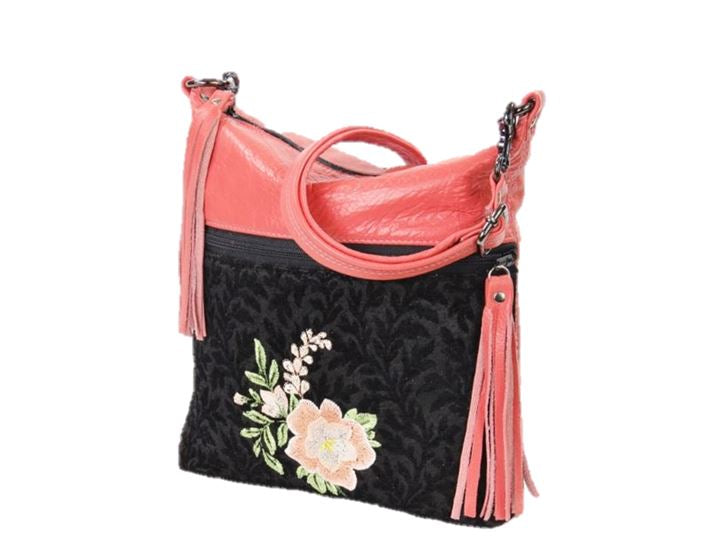 Black and Coral Leather Cross Body Bag