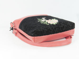 Black and Coral Leather Cross Body Bag Asian Floral Embroidery bottom view