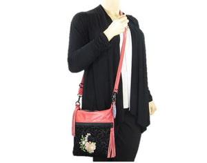 Black and Coral Leather Crossbody Bag Asian Floral Embroidery model view