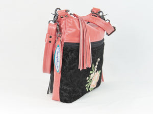 Black and Coral Leather Cross Body Bag Asian Floral Embroidery top zipper closure
