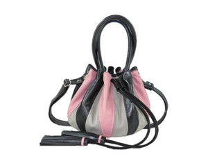 Black and Pink Leather Harlequin Cinch Bag table view