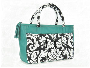 Black and White Acanthus Print and Genuine Leather Tote