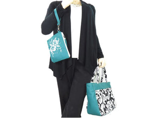 Black and White Acanthus Print and Genuine Leather Tote companion clutch