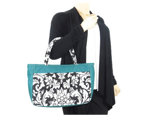 Black and White Acanthus Print and Genuine Leather Tote model