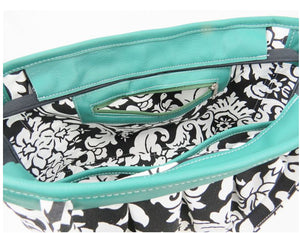 Black and White Acanthus Print and Genuine Leather Tote zipper pocket