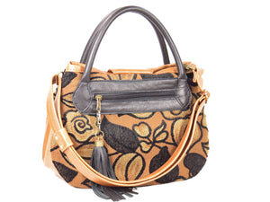 Black on Brown Leather and Tapestry Leaf Satchel back