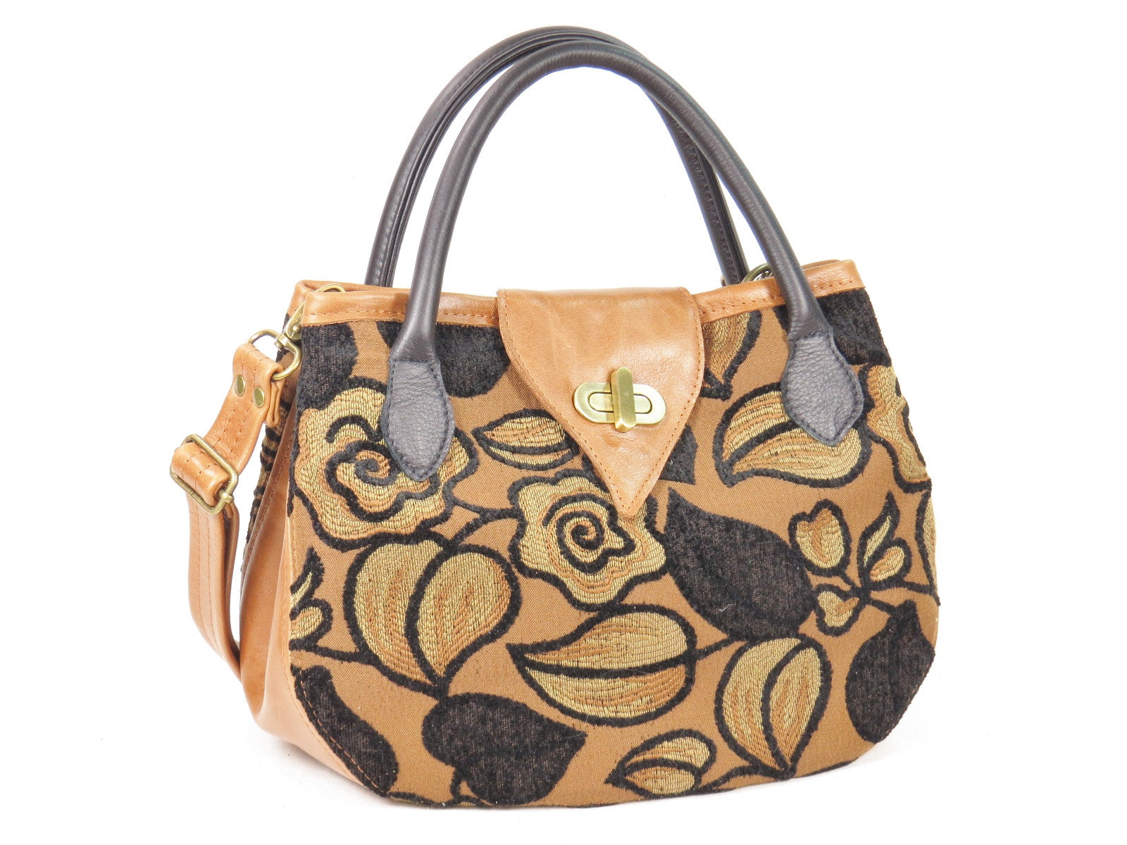 Black on Brown Leather and Tapestry Leaf Satchel front