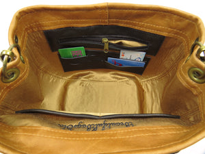 Black on Brown Leather and Tapestry Leaf Satchel interior card slots and zipper pocket