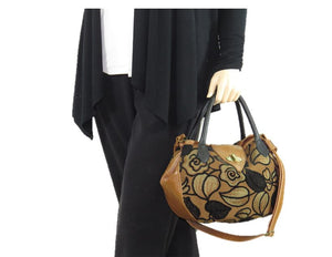 Black on Brown Leather and Tapestry Leaf Satchel model view