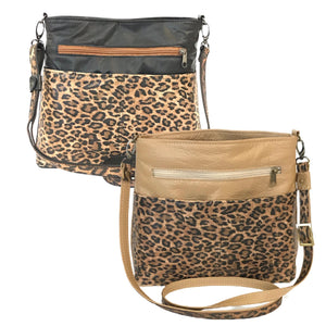 Savanna Crossbody Black and Camel Tan