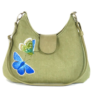 Blue Butterfly on Green Denim Cottagecore Hobo