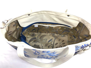 Blue Willow Embroidered Leather Tote interior view