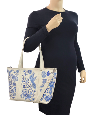 Blue Willow Embroidered Leather Tote model view