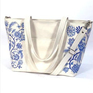 Blue Willow Embroidered Leather Tote pocket side