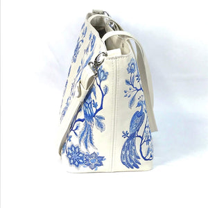 Blue Willow Embroidered Leather Tote side view