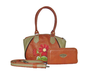Bohemian Bloom Satchel with companion wallet