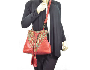 Boho Bucket Bag Red Leather and Tapestry Cross Body model