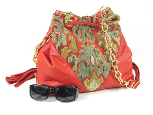 Boho Bucket Bag Red Leather and Tapestry Cross Body reverse side