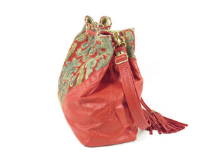 Boho Bucket Bag Red Leather and Tapestry Cross Body