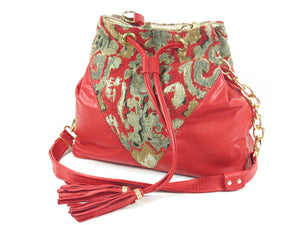 Boho Bucket Bag Red Leather and Tapestry Cross Body view 2