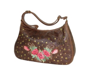 Brown Leather Embroidered Classic Hobo Bag