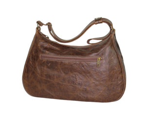 Brown Leather Embroidered Classic Hobo Bag back view