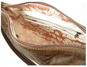 Brown Leather Embroidered Classic Hobo Bag interior
