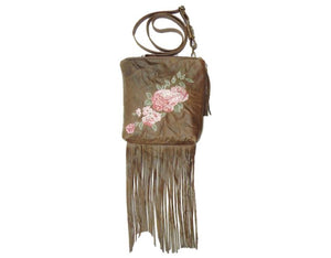 Brown Leather Fringe and Roses Cross Body Bag 2