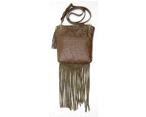 Brown Leather Fringe and Roses Cross Body Bag back view