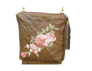Brown Leather Fringe and Roses Cross Body Bag embroidery