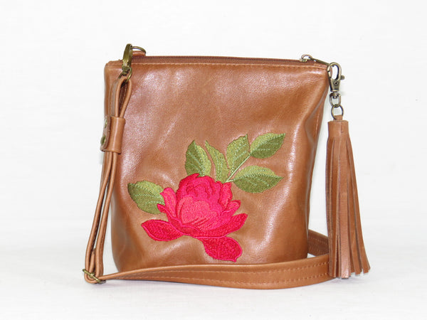 Brown Leather Red Rose Embroidered Crossbody