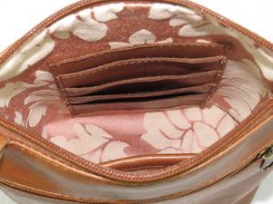 Brown Leather Red Rose Embroidered Crossbody card slots