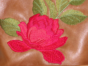 Brown Leather Red Rose Embroidered Crossbody embroidery close-up