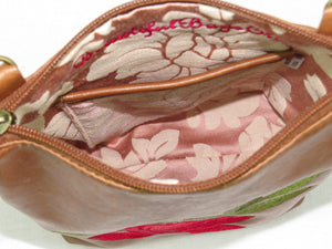 Brown Leather Red Rose Embroidered Crossbody interior pocket