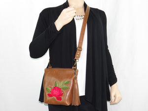 Brown Leather Red Rose Embroidered Crossbody model