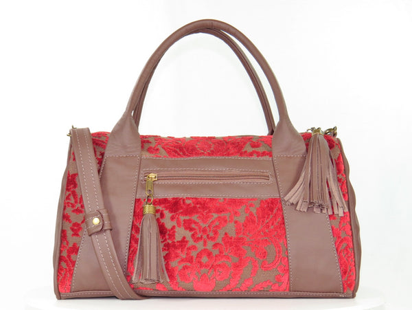 Brown Leather and Red Cut Velvet Satchel