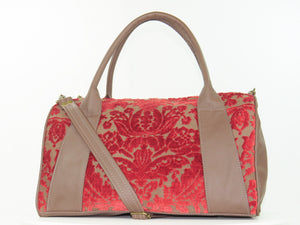 Brown Leather and Red Cut Velvet Satchel back side