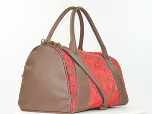 Brown Leather and Red Cut Velvet Satchel angle view