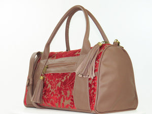 Brown Leather and Red Cut Velvet Satchel side view