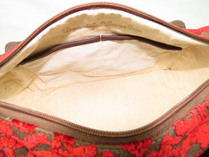 Brown Leather and Red Cut Velvet Satchel canvas lining with pockets