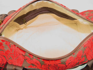 Brown Leather and Red Cut Velvet Satchel interior zipper pocket