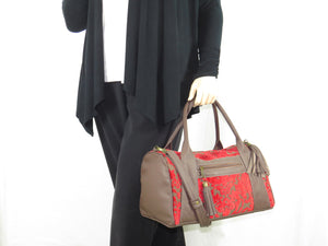 Brown Leather and Red Cut Velvet Satchel model view